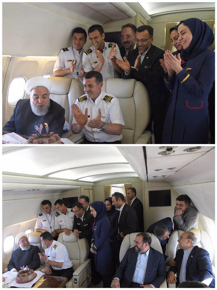 (تصویر) جشن تولد سورپرایزی روحانی در هواپیما