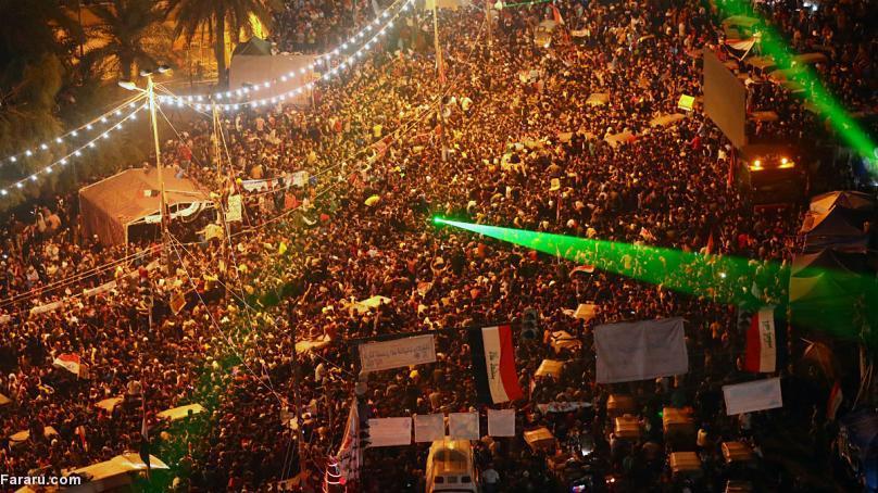 (تصاویر) پایکوبی عراقیهای معترض پس از شکست تیم ایران