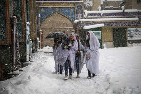 (تصاویر) حال و هوای امامزاده صالح تهران هنگام بارش برف
