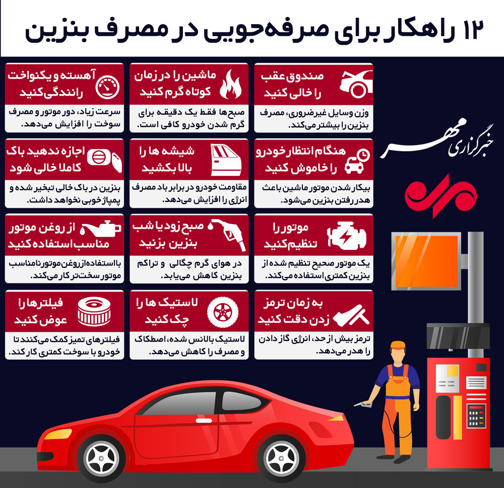 (اینفوگرافیک) ۱۲ راهکار برای صرفهجویی در مصرف بنزین