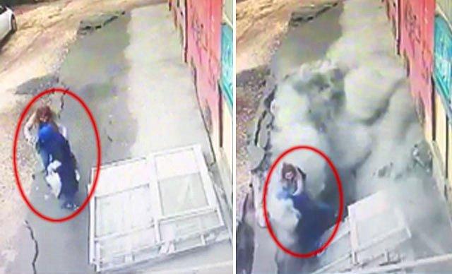 (ویدیو) زمین دهان باز کرد و ۲ زن را بلعید!