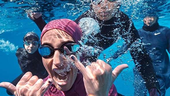 (تصاویر) رونمایی نایکی از لباس شنا ویژه زنان مسلمان