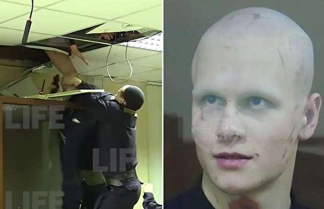 (ویدئو) تلاش متهم برای فرار از سقف دادگاه!