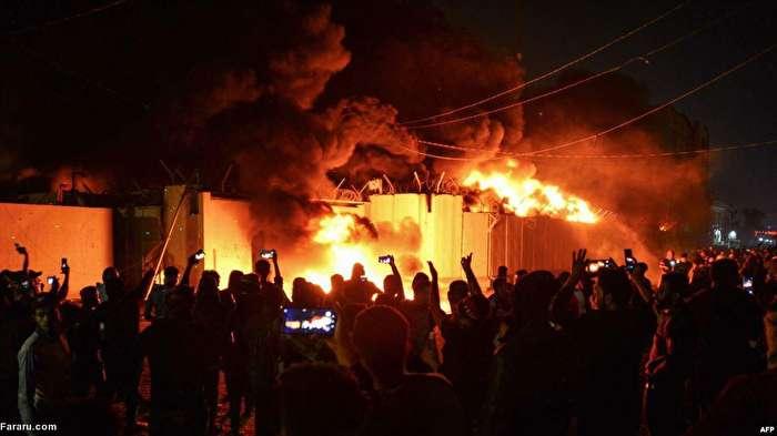 وخامت اوضاع در شهر نجف؛ حمله به کنسولگری ایران/ هیات دیپلماتیک ایران کنسولگری را قبل از آتشسوزی ترک کرد