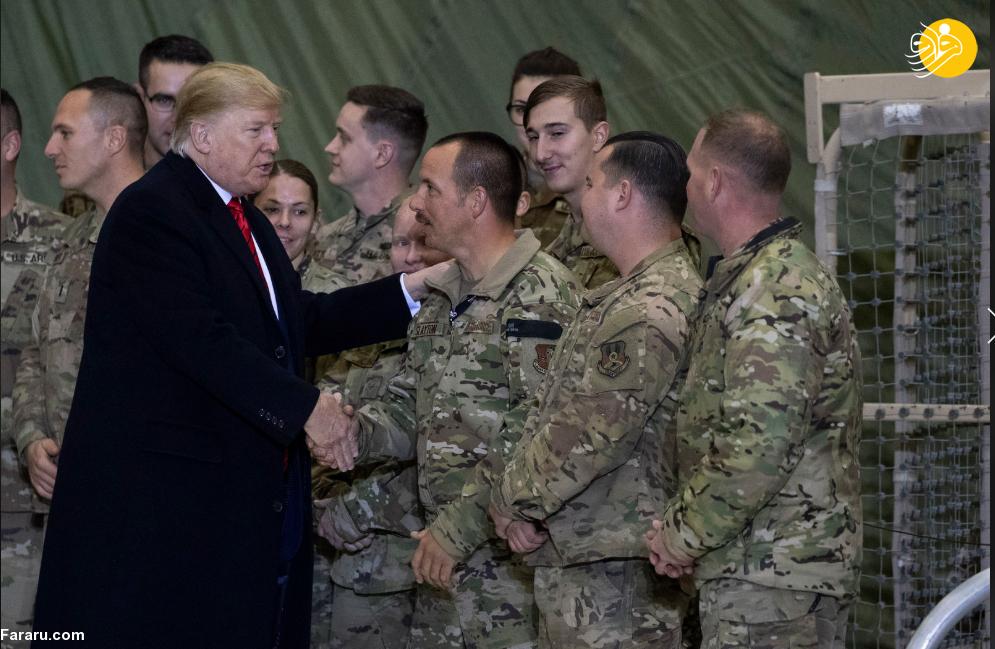 (تصاویر) سفر دونالد ترامپ به پایگاه نظامی بگرام در افغانستان
