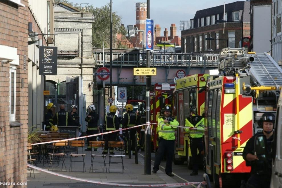 آتشنشانان و نیروهای پلیس در محدوده مترو لندن