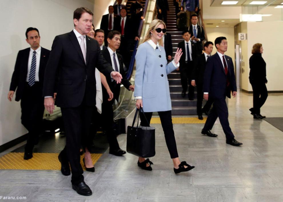 ایوانکا ترامپ مشاور رئیس جمهور آمریکا در فرودگاه بین المللی ناریتا در ژاپن؛ چندی پیش نشریه پولتیکو در گزارشی پیرامون دختر رئیس جمهور امریکا از القابی چون