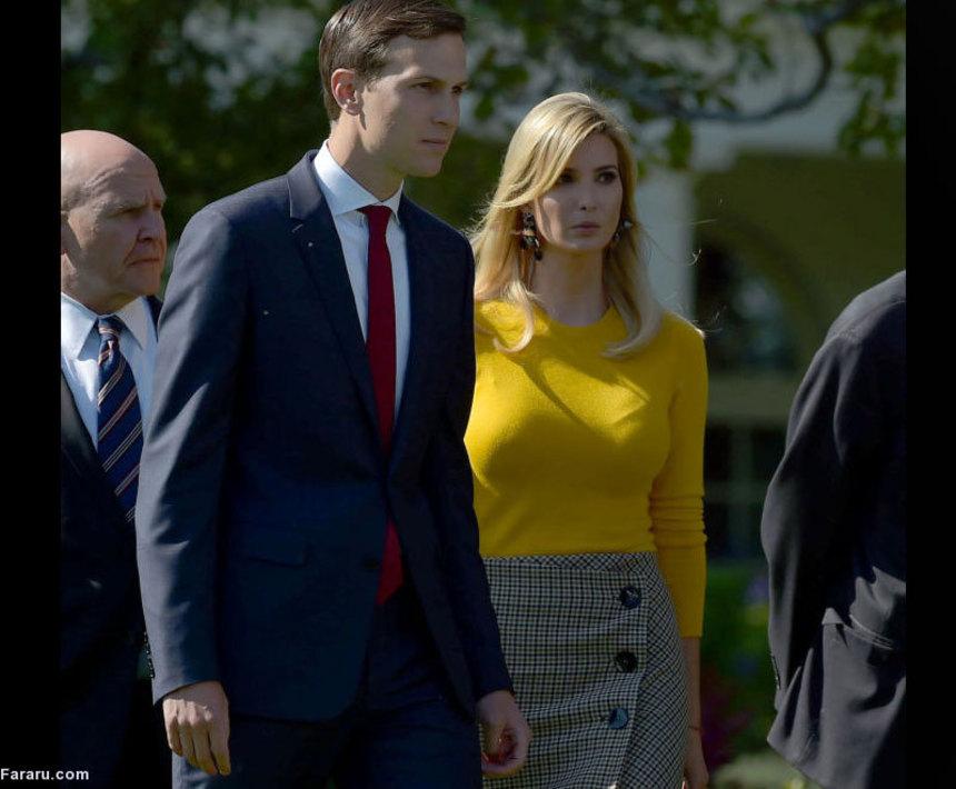 جارد کوشنر و ایوانکا ترامپ در حال قدم زدن در کاخ سفید؛ بهرغم اینکه ترامپ پیش از ریاست جمهوری گفته بود از اقوام خود در دولت استفاده نخواهد کرد اما جارد کوشنر، داماد ترامپ و همسر ایوانکا، همچنین خود ایوانکا نقش مهمی در کاخ سفید دارند.
