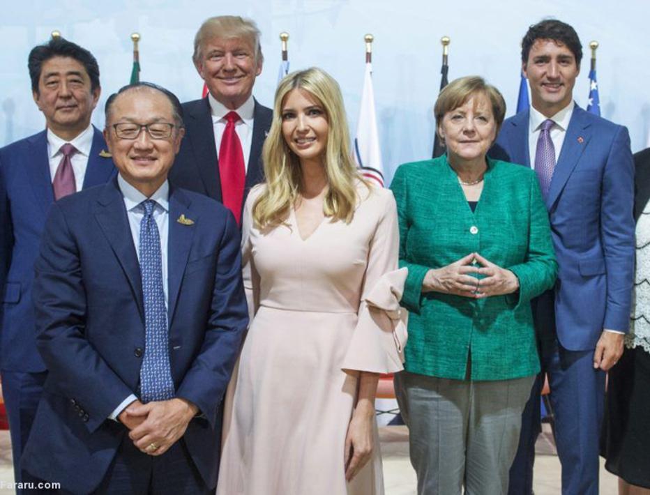 ایوانکا ترامپ در صف اول عکس یادگاری سران گروه 20؛  ایوانکا پیشتر در کسبوکار خانوادگی ترامپ سطحی از قدرت و تصمیمگیری را داشت که هیچیک از همسران دونالد ترامپ یا مدیران اجرائی نداشتند.