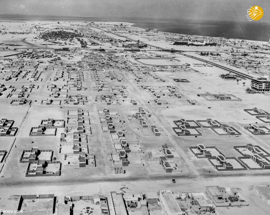 تصویر هوایی از شهر ابوظبی، امارات متحده عربی در سال هزار و نهصد و شصت