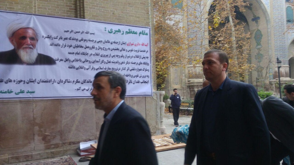 نتیجه تصویری برای (تصویر) احمدی نژاد و جنتی در مراسم ترحیم آیت الله حائری شیرازی