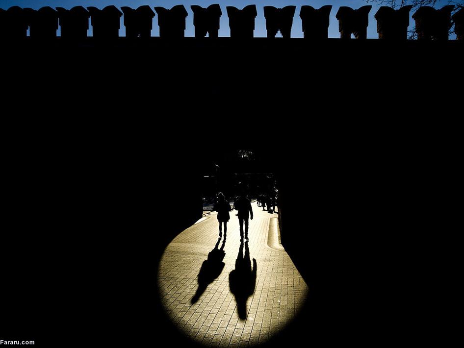 روز آفتابی زمستانی در نزدیکی کرملین مسکو. (ای اف پی)