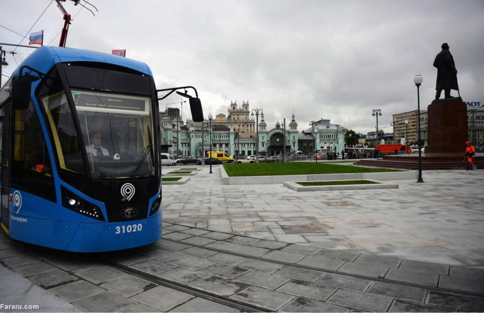 تراموای در میدان تورسکی در مسکو 2017