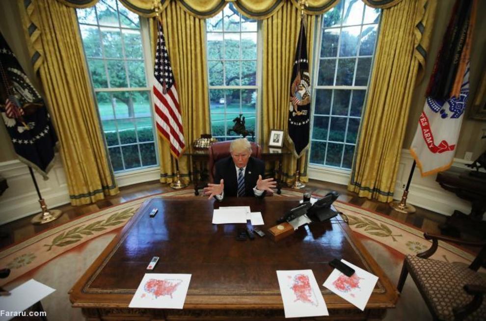 مصاحبه با رویترز در دفتر بیضی شکل کاخ سفید