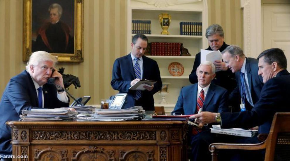 ترامپ در حال گفتگوی تلفنی با ولادیمیر پوتین