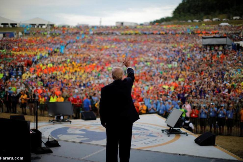 ترامپ در حال سخنرانی در ویرجینیا