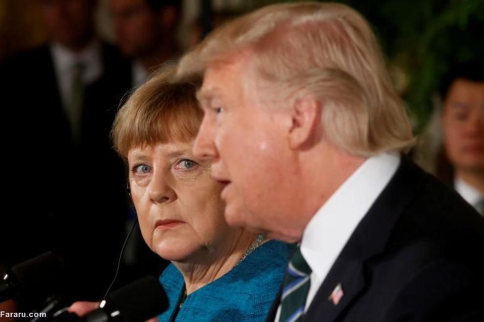 آنگلا مرکل، صدراعظم آلمان و ترامپ در یک کنفرانس خبری مشترک در اتاق شرقی کاخ سفید