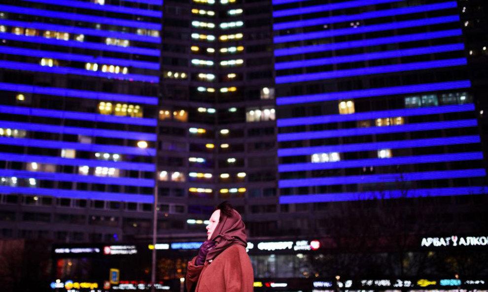آبی رنگ شدن ساختمان های جدید در مسکو