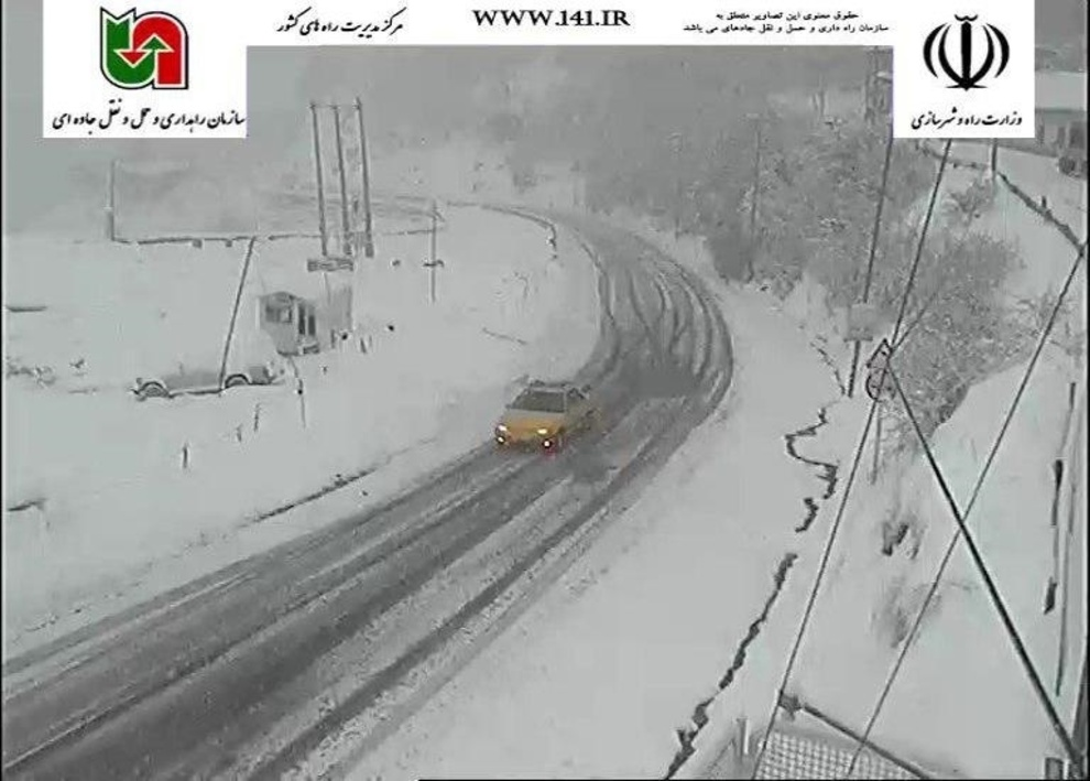 بارش برف در محور کندوان، 27 فروردین ساعت:09:30