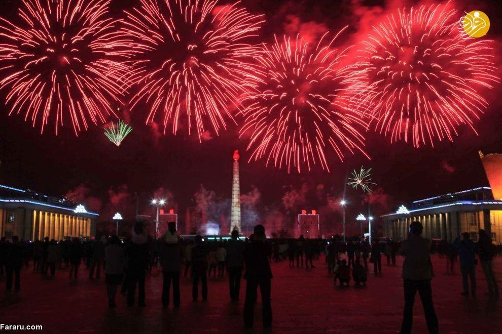 آتش بازی در زمان جشن خورشید در کره شمالی