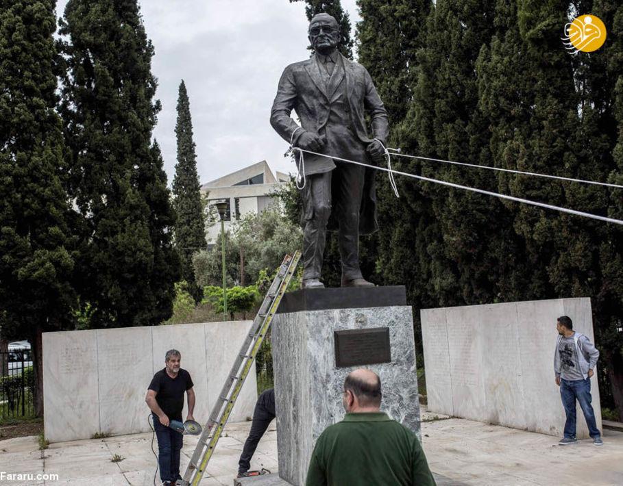 (تصاویر) حمله به مجسمه رئیسجمهور سابق آمریکا در یونان|2803326