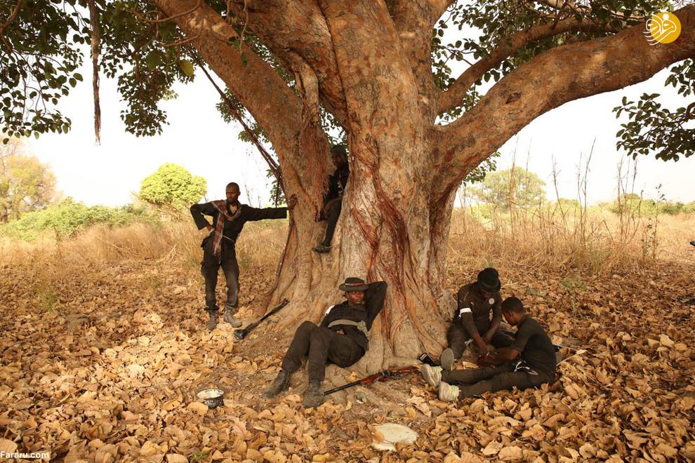 عایشه در کنار شکارچیان تحت فرماندهیاش در جنگل