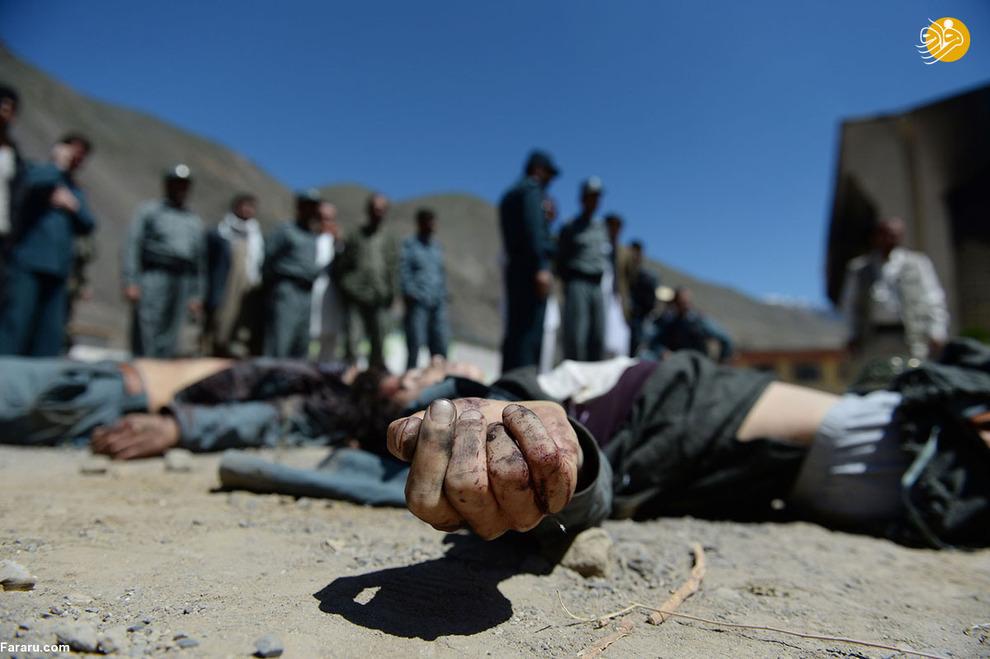 شانزده نیروهای امنیتی افغان در کنار اجساد شورشیان در ولایت پنجشیر