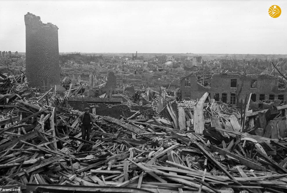 ویرانههای خانههای مردم فرانسه  در جنگ جهانی اول