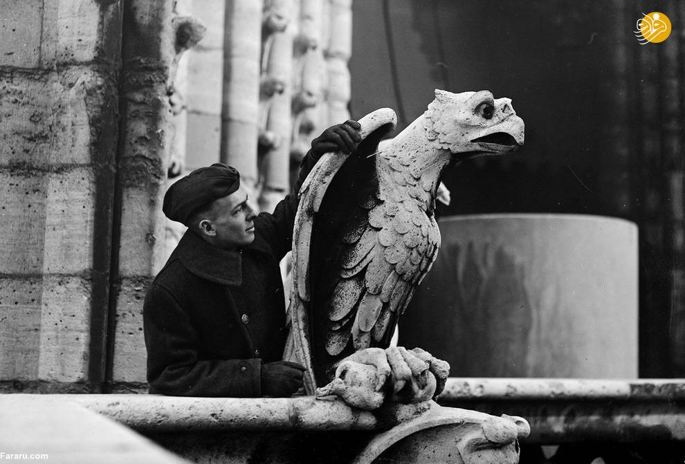 مردی در کنار پرنده سنگی در مرکز صلیب سرخ