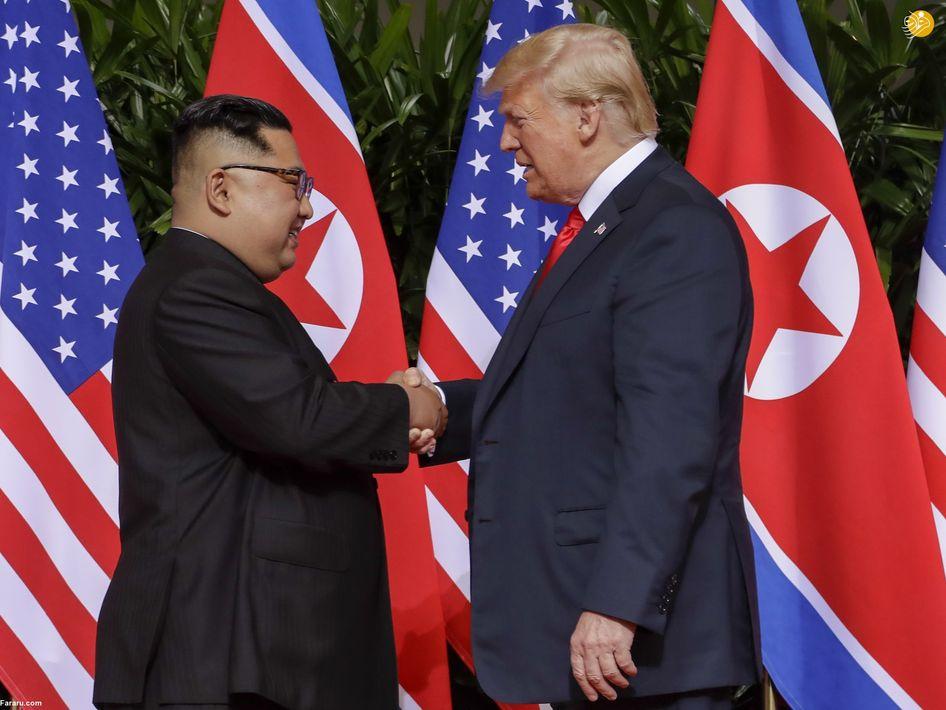 رهبران آمریکا و کره شمالی در محل مذاکرات. (ای اف پی)