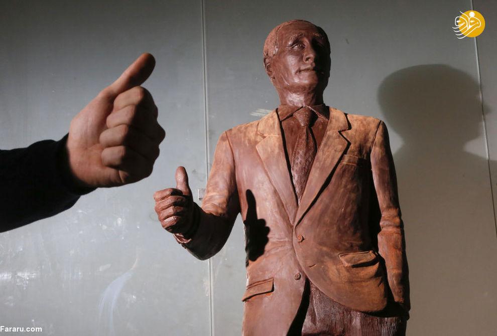 مجسمه شکلاتی ولادیمیر پوتین رئیس جمهور روسیه در فستیوال شکلات در سن پیترزبورگ