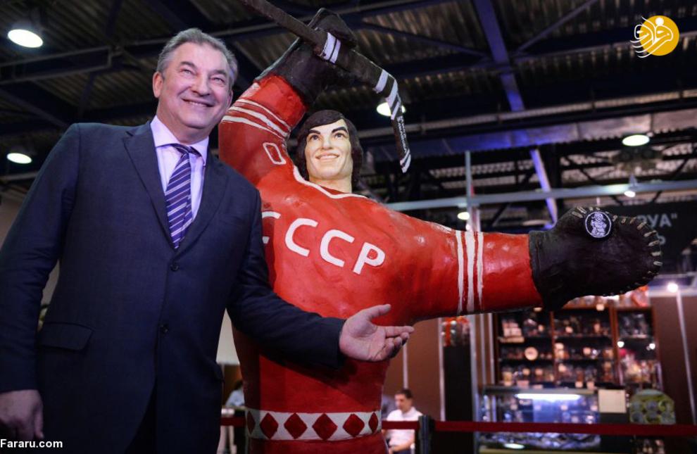 مجسمه شکلاتی ولادیسلاو تریتیاک قهرمان سه باره المپیک در مسکو