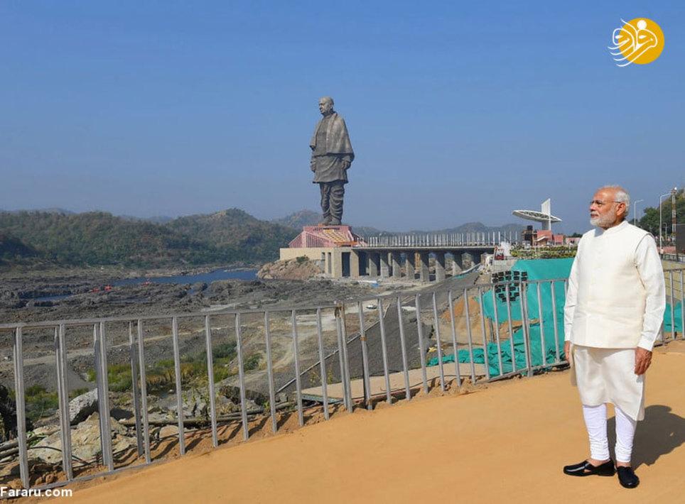 نخست وزیر هند در مراسم رونمایی از بزگترین مجسمه دنیا در کنار سد نرمادا در گجرات (Narmada dam in Gujarat)