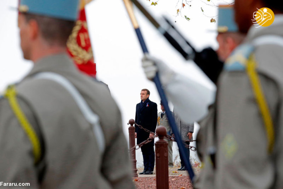 امانوئل مکرن، رئیس جمهور فرانسه، در مراسم یادبود سربازان فرانسوی در ماه اوت 1914 در جنگ های مرزی واقع در شهر مورهانگ