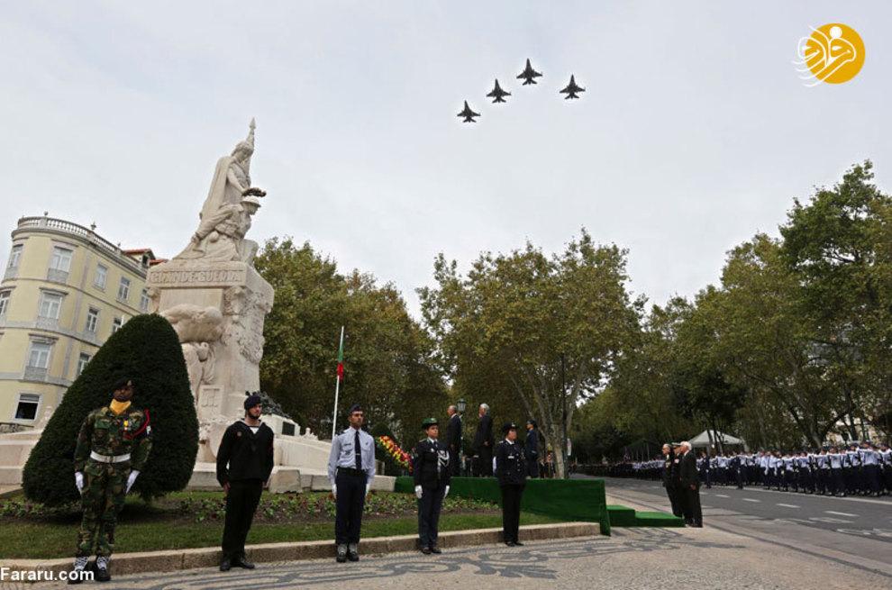 ادای احترام رئیس جمهور پرتغال به بنای یادبود از جنگ جهانی اول، همچنین رژه جتهای نیروی هوایی در لیسبون پرتغال