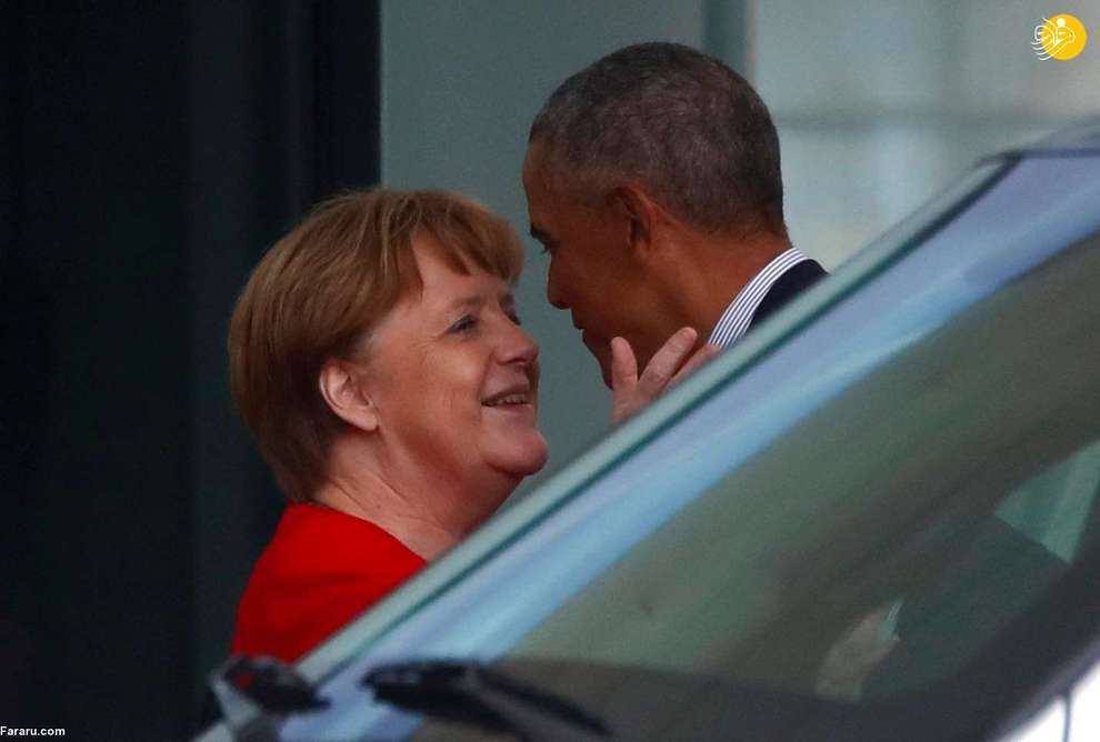 خوش و بش آنگلا مرکل صدراعظم آلمان با باراک اوباما رئیس جمهور پیشین آمریکا در برلین