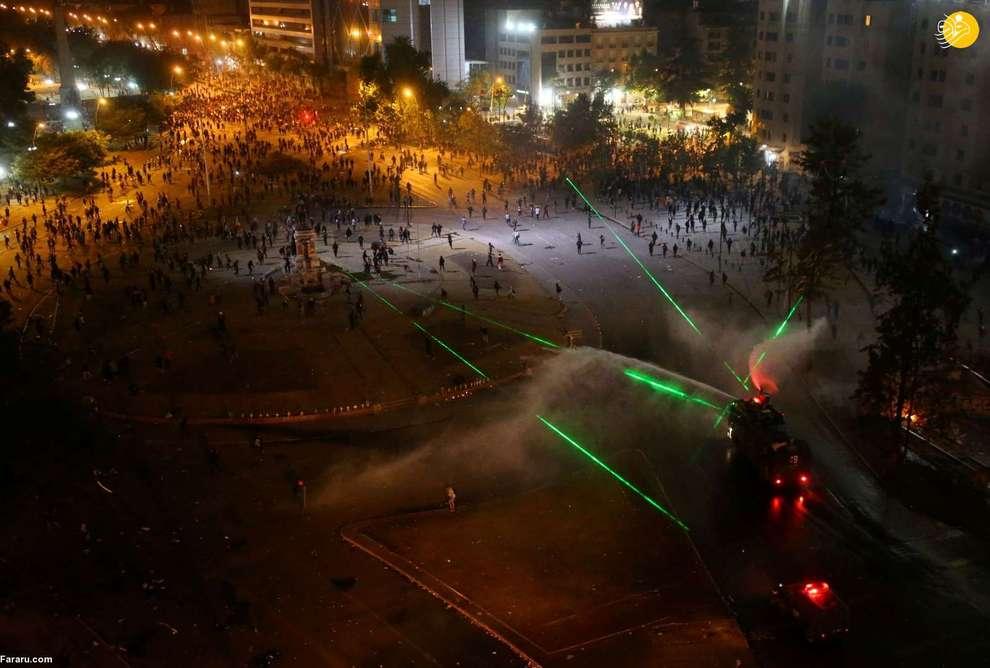 استفاده از لیزر در اعتراضات شیلی توسط معترضان