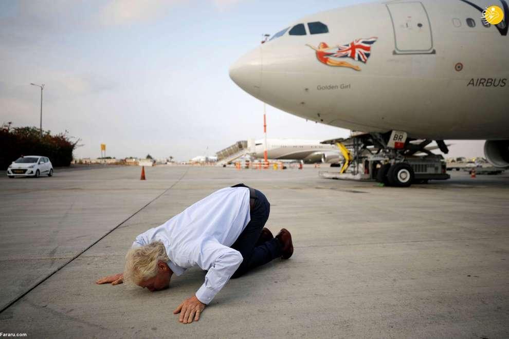 ریچارد برانسون میلیاردر انگلیسی در فرودگاه بن گوریون اسرائیل